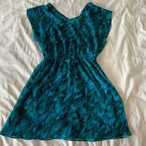 Dolman sleeve printed dress, turquoise